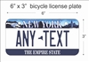 New York state Mini License Plate for Bicycles, Bikes, Wheelchairs, Golf Carts personalized for you. can also be used as a door sign.
