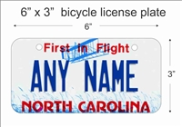 North Carolina state Mini License Plate for Bicycles, Bikes, Wheelchairs, Golf Carts personalized for you. can also be used as a door sign.