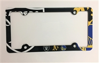 Oakland Ca teams: Raiders, Warriors & Oakland A's. Decorative License Plate Holder