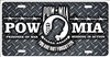 POW MIA on faux diamond plate novelty front license plate decorative aluminum car tag