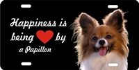 personalized novelty license plate Happiness is being loved by a Papillon Custom License Plates, Personalized License Plates, Decorative License Plates, Front License Plates, Car Tags, airbrush