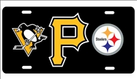 Pittsburgh sport teams logos personalized novelty license plate Custom License Plates, Personalized License Plates, Decorative License Plates, Front License Plates, Car Tags, airbrush