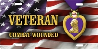 Purple Heart VETERAN Combat Wounded flag background custom car tag Custom License Plates, Personalized License Plates, Decorative License Plates, Front License Plates, Car Tags, airbrush