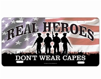 Soldiers Real Heroes don't wear capes military novelty front license plate decorative vanity aluminum sign