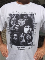 Rock and Roll Collage t-shirt Greatest Rock Legends Printed on a Tee Shirt with Their Famous Lyrics