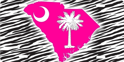 South Carolina pink on zebra custom car tag Custom License Plates, Personalized License Plates, Decorative License Plates, Front License Plates, Car Tags, airbrush