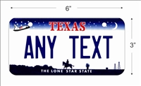 Texas state Mini License Plate for Bicycles, Bikes, Wheelchairs, Golf Carts personalized for you. can also be used as a door sign.