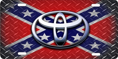 Toyota on rebel flag license plate diamond plate Custom License Plates, Personalized License Plates, Decorative License Plates, Front License Plates, Car Tags, airbrush