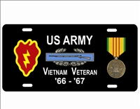 Vietnam veteran 25th INFANTRY DIVISION license plate Custom License Plates, Personalized License Plates, Decorative License Plates, Front License Plates, Car Tags, airbrush