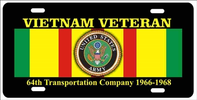 Vietnam veteran 64th Transportation Company personalized novelty Front license plate Decorative Aluminum Sign car tag Custom License Plates, Personalized License Plates, Decorative License Plates, Front License Plates, Car Tags, airbrush