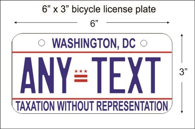 Washington DC  Mini License Plate for Bicycles, Bikes, Wheelchairs, Golf Carts personalized for you. can also be used as a door sign.