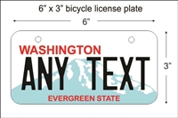 Washington State Mini License Plate for Bicycles, Bikes, Wheelchairs, Golf Carts personalized for you. can also be used as a door sign.