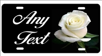 White rose personalized novelty front license plate decorative vanity front car tag