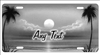 Airbrush grey tropical beach scene personalized novelty decorative front license plate