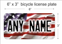 American Flag Mini License Plate for Bicycles, Bikes, Wheelchairs, Golf Carts personalized for you. can also be used as a door sign.