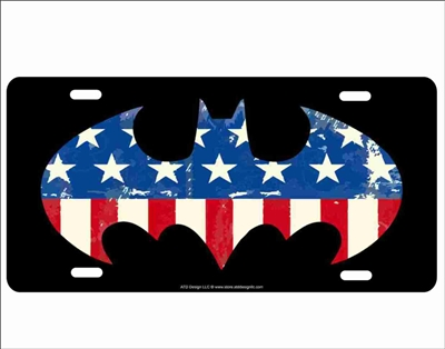 Batman logo American flag novelty license plate decorative vanity aluminum sign