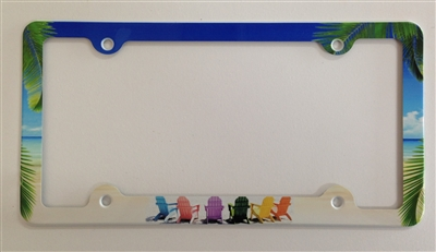 Beach chairs on a tropical beach License Plate Frame, Decorative License Plate Holder, Car Tag Frame