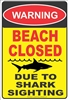 BEACH CLOSED due to shark sighting warning aluminum sign Novelty Custom signs, personalized signs, Decorative signs, Aluminum signs, airbrush