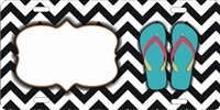 chevron pattern with flip flops custom car tag