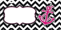 chevron pattern with pink anchor custom car tag