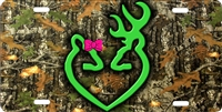 Browning lovers Doe with a Bow on camo personalized novelty front license plate decorative vanity car tag
