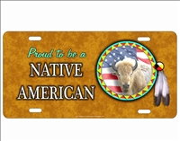 novelty license plate Proud to be a Native American White Buffalo Spirit