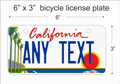 California state Mini License Plate for Bicycles, Bikes, Wheelchairs, Golf Carts personalized for you. can also be used as a door sign.