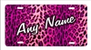 Pink Cheetah Leopard Print Personalized Novelty Front License Plate Decorative vanity Car Tag