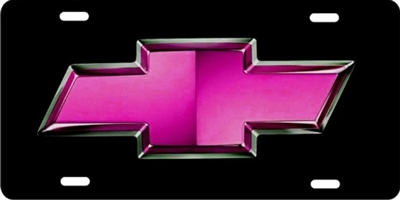 Pink Chevrolet bow tie personalized novelty front license plate decorative vanity car tag