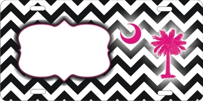 chevron pattern with palmetto tree custom car tag