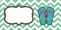 turquoise Chevron with flip flops personalized novelty license plate decorative vanity front plate car tag