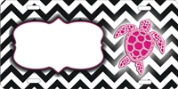 personalized license plate chevron Pattern with turtle