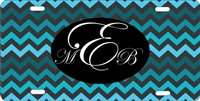 Chevron design custom car tag