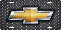 personalized novelty license plate Chevrolet bow tie on diamond plate (NOT 3D)