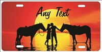 Couple on the beach with horses personalized novelty Front license plate for lovers Decorative Vanity Car Tag