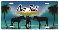 Couple on the beach with horses aqua personalized novelty Front license plate for lovers Decorative Vanity Car Tag