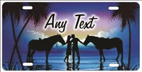 Couple on the beach with horses blue personalized novelty Front license plate for lovers Decorative Vanity Car Tag