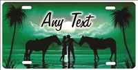 Couple on the beach with horses green personalized novelty Front license plate for lovers Decorative Vanity Car Tag