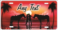 Couple on the beach with horses red personalized novelty Front license plate for lovers Decorative Vanity Car Tag