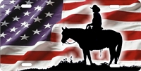 Cowboy on American flag Custom License Plates, Personalized License Plates, Decorative License Plates, Front License Plates, Car Tags, airbrush