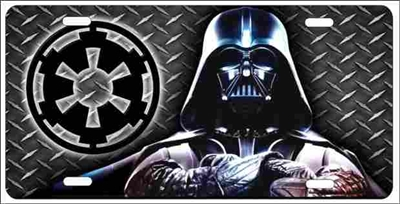 Darth Vader Dark Lord with Star Wars Empire insignia on diamond background personalized novelty license plate (Not 3D)