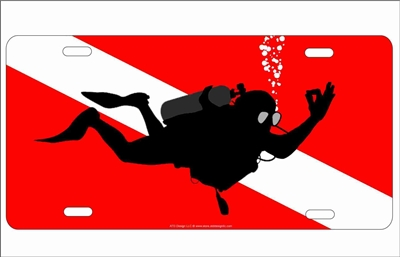 diver down flag with scuba diver signaling okay novelty front license plate Decorative vanity car tag