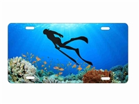 scuba diver coral reef spearfishing personalized novelty front license plate decorative vanity car tag