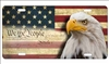 We The People Bold eagle on vintage American flag personalized novelty license plate decorative vanity aluminum tag