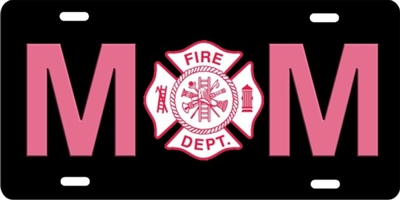 Firefighter's Mom Maltese cross car tag personalized novelty front license plate