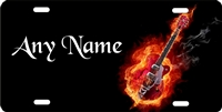 flaming guitar personalized novelty front license plate Decorative Vanity Music car tag