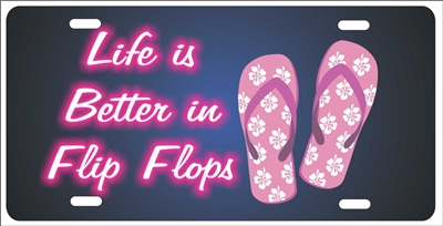 Life is better in Flip Flops Life is Good personalized novelty front license plate Decorative Vanity car tag