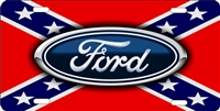 Ford logo on rebel flag personalized novelty front license plate Decorative Vanity car tag