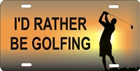golfer I'd rather be golfing personalized novelty front license plate decorative vanity car tag