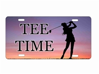 tee time golfer Girl personalized novelty front license plate decorative vanity car tag